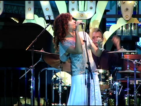 minnie driver at the concert of minnie driver and american idol's john stevens at the grove in los angeles california on august 3 2005 - american idol stock videos and b-roll footage