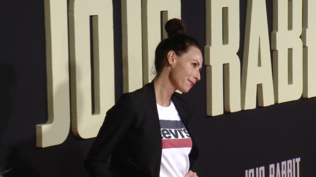 """minnie driver at the """"jojo rabbit"""" los angeles premiere presented by fox searchlight pictures in los angeles ca - minnie driver stock videos and b-roll footage"""