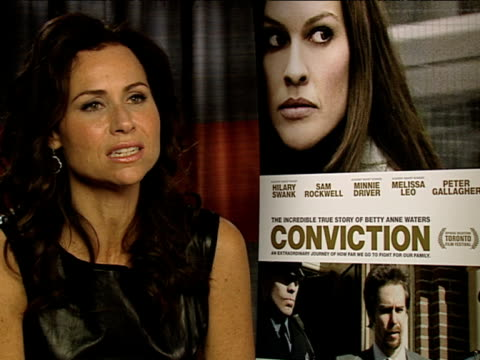 minnie driver doing a welsh accent at the conviction interviews at london england. - typisch walisisch stock-videos und b-roll-filmmaterial