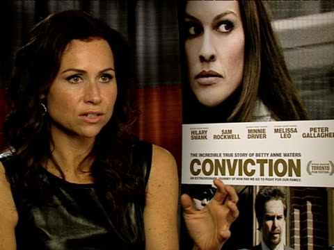 minnie driver on having exonerees at the premiere in the us at the conviction interviews at london england - minnie driver stock videos and b-roll footage