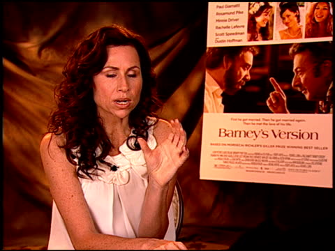 stockvideo's en b-roll-footage met minnie driver on her character at the 'barney's version' junket at los angeles ca - minnie driver