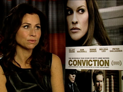 minnie driver on her son being on the set at the conviction interviews at london england - minnie driver stock videos and b-roll footage