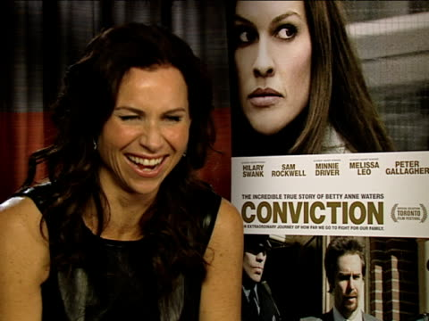 minnie driver on hilary swank at the conviction interviews at london england - minnie driver stock videos and b-roll footage