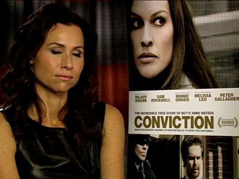 minnie driver on how far bettyanne went on going to the end of the world for her child at the conviction interviews at london england - minnie driver stock videos and b-roll footage