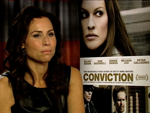 minnie driver on how good the cast were at the conviction interviews at london england - minnie driver stock videos and b-roll footage