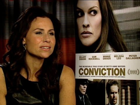 minnie driver on how the movie makes you reexamine the people in your life at the conviction interviews at london england - minnie driver stock videos and b-roll footage