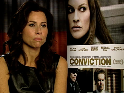 minnie driver on how the part was ideal for her after having a baby at the conviction interviews at london england - minnie driver stock videos and b-roll footage
