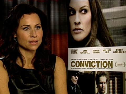 minnie driver on meeting betty anne and abra at the conviction interviews at london england - minnie driver stock videos and b-roll footage