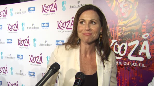 minnie driver on the event cirque du soleil at the kooza opening night gala to benefit the one drop foundation heal the bay at santa monica ca - minnie driver stock videos and b-roll footage