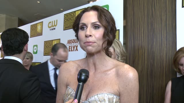 stockvideo's en b-roll-footage met interview minnie driver on the event on her film and on the quality of television at the 2014 critics' choice television awards at the beverly hilton... - minnie driver