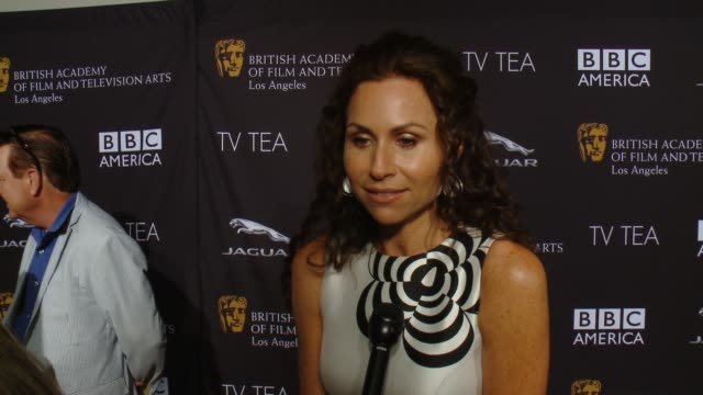 stockvideo's en b-roll-footage met interview minnie driver on the event the last time she had high tea emmy weekend at bafta la tv tea 2014 presented by bbc america and jaguar in los... - minnie driver