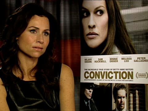 minnie driver on whether she'd ever become a lawyer at the conviction interviews at london england - minnie driver stock videos and b-roll footage