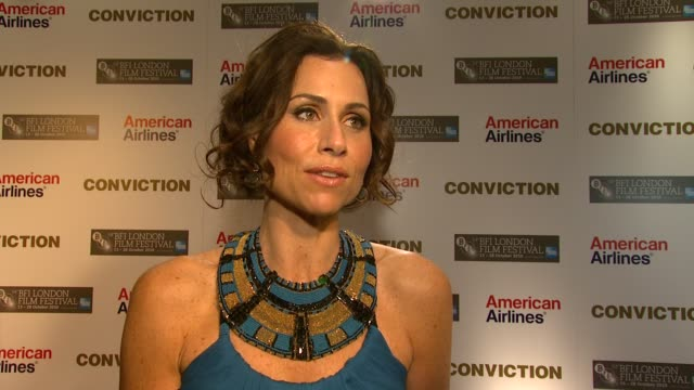 minnie driver on working her character the story at the conviction premiere 54th bfi london film festival at london england - minnie driver stock videos and b-roll footage