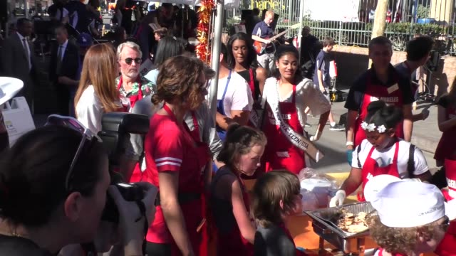 minnie driver serves at the los angeles mission thanksgiving meal for the homeless in los angele at celebrity sightings in los angeles on november 23... - minnie driver stock videos and b-roll footage