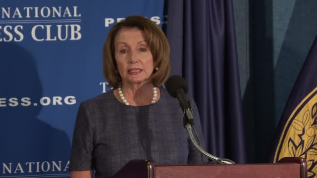minority leader nancy pelosi attacks us president donald trump at a 'prebuttal' press conference ahead of the joint address to the us congress she... - nancy pelosi stock videos and b-roll footage