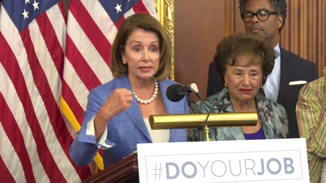minority leader nancy pelosi leads a press conference on why the u.s. congress needs to pass legislation to fund the efforts to combat the zika virus... - 連邦議会議員点の映像素材/bロール