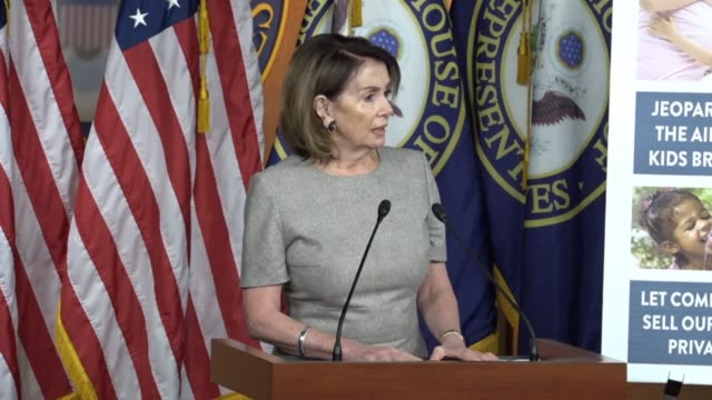 minority leader nancy pelosi of california answers questions about a renewed health care effort led by house republicans to repeal and replace the... - 神話点の映像素材/bロール