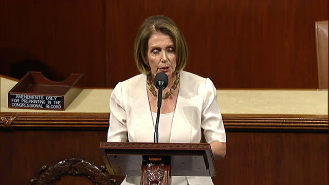 stockvideo's en b-roll-footage met minority leader nancy pelosi talks about the possibility of a government shutdown on the floor of the house of representatives before a vote on the... - united states and (politics or government)