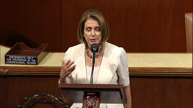 stockvideo's en b-roll-footage met minority leader nancy pelosi talks about the role of elected representatives on the floor of the house of representatives before a vote on the budget... - united states and (politics or government)