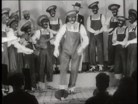a minstrel show in the 1940s features men in black faces - performance stock videos & royalty-free footage