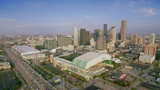 aerial minute maid park in downtown houston, texas - aircraft point of view stock videos & royalty-free footage