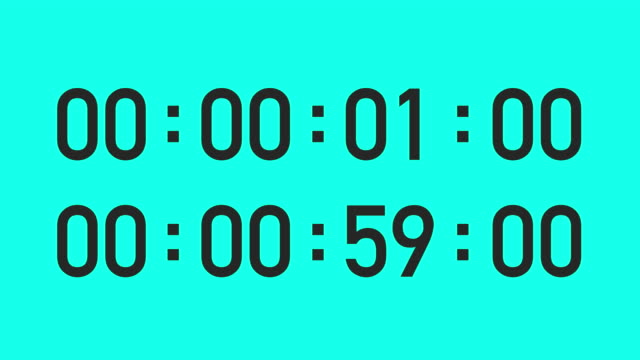 1 minute with split second timer - vector animate - countdown stock videos & royalty-free footage