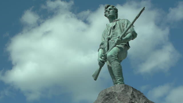 minuteman statue near boston - new england usa stock videos & royalty-free footage