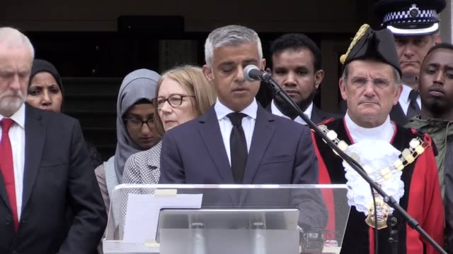 a minute's silence is held for makram ali who died in the finsbury park attack and london mayor sadiq khan gives a speech outside islington town hall - sadiq khan stock videos and b-roll footage