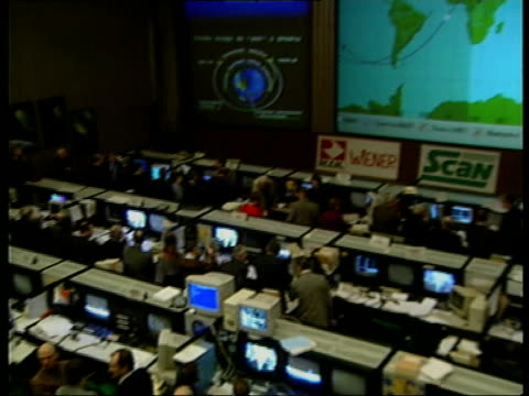mir space station lands in pacific mir space station lands in pacific russian federation moscow tgv mission control pan workers sat at desk in... - mir space station stock-videos und b-roll-filmmaterial
