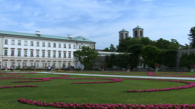 ws, pan, mirabell gardens and schloss mirabell, salzburg, austria - traditionally austrian stock videos & royalty-free footage