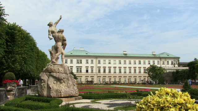 ws, mirabell gardens and schloss mirabell, salzburg, austria - 17th century style stock videos & royalty-free footage