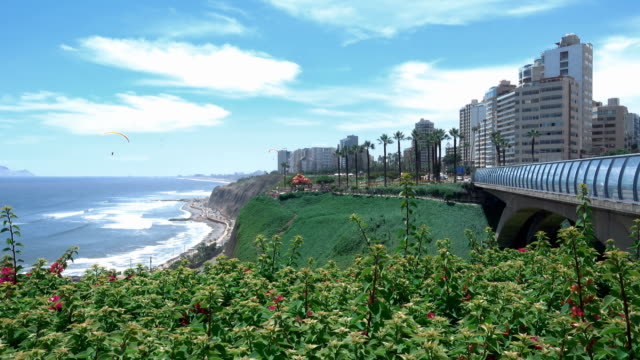 miraflores district boardwalk in lima, peru - lima peru stock videos and b-roll footage