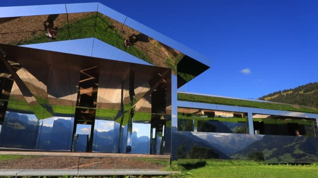 "mirage gstaad"" by los angeles-based artist doug aitken is on display outside as installation sculpture representing a chalet made with mirrors... - kaleidoscope pattern stock videos & royalty-free footage"