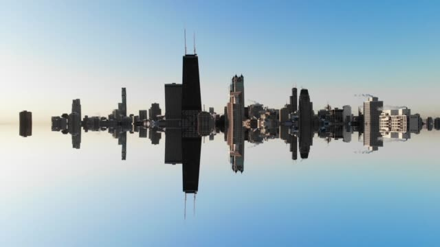 mirage reflection of chicago skyline with minimal and surreal mirror effect. - symmetry stock videos & royalty-free footage