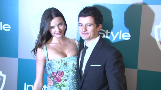 miranda kerr and orlando bloom at the 13th annual warner bros and instyle golden globe afterparty in beverly hills ca on 1/15/12 - orlando bloom stock videos & royalty-free footage