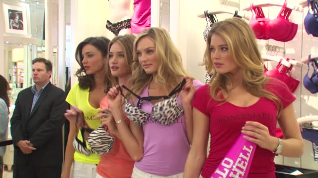 Miranda Kerr Rosie HuntingtonWhiteley Candice Swanepoel and Doutzen Kroes at the Victoria's Secret Models Share Shopping Secrets Of A Supermodel at...