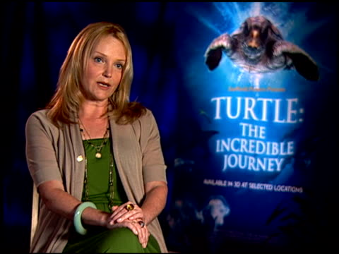 miranda richardson on if she feels hopeful for the survival of the loggerhead turtle. at the 'turtle: the incredible journey' junket at los angeles... - ミランダ リチャードソン点の映像素材/bロール