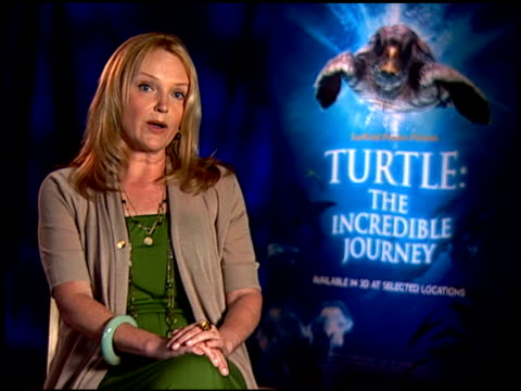 miranda richardson on if she knew much about the loggerhead turtles. at the 'turtle: the incredible journey' junket at los angeles ca. - ミランダ リチャードソン点の映像素材/bロール