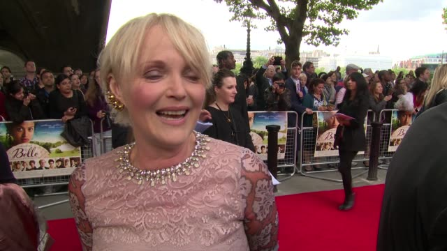 interview miranda richardson on the movie racism and justin bieber at the 'belle' premiere at bfi southbank on 5 june 2014 in london england - bfi southbank stock videos & royalty-free footage