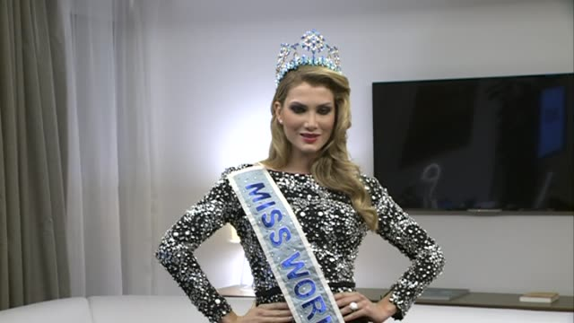 mireia lalaguna poses during her first official event as 2015 miss world - miss world pageant stock videos & royalty-free footage