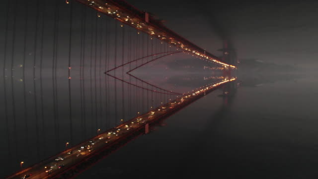 mirror effect of the golden gate bridge al night with stunning perspective effect. - kaleidoscope pattern stock videos & royalty-free footage