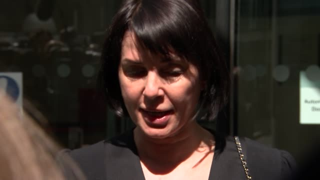 Departures after judge awards record damages ENGLAND London EXT Sadie Frost departing building and speaking to press SOT / Frost along / Mark Lewis...