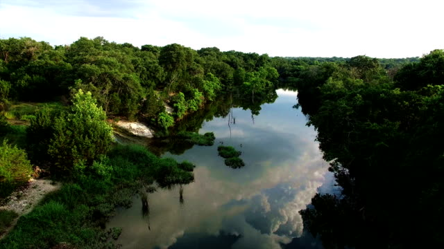 Mirrored Reflection along Brushy Creek Austin and Round Rock area aerial drone over gorgeous tropical river