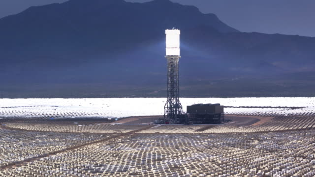 Mirrors and Tower at Ivanpah Solar Facility - Drone Shot with Tilt