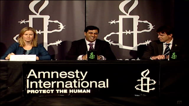 mirza tahir hussain released from prison england london int amjad hussain sepaking at amnest international press conference sot can confirm he has... - loslassen aktivitäten und sport stock-videos und b-roll-filmmaterial