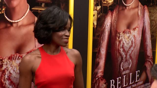 """misan sagay at """"belle"""" new york premiere arrivals at the paris theater on april 28 2014 in new york city - paris theater manhattan stock videos and b-roll footage"""