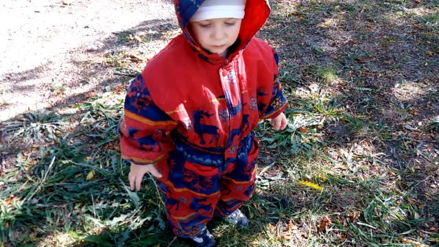 mischievous baby playing in park - warm clothing stock videos and b-roll footage