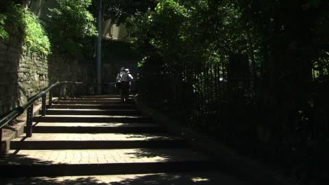 mishirizaka slope, yokohama, japan - steps and staircases stock videos & royalty-free footage