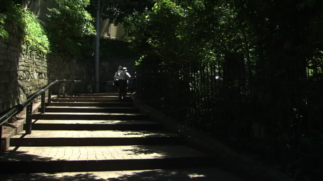 mishirizaka slope, yokohama, japan - steps and staircases stock videos & royalty-free footage
