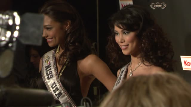 miss america and miss universe at the 'celebrity apprentice' viewing party at tenjune in new york new york on february 7 2008 - beauty contest stock videos & royalty-free footage